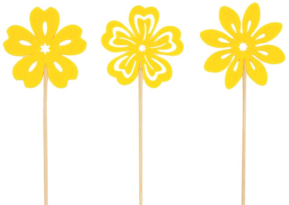 Kytička filcová žlutá zápich 6 cm + špejle