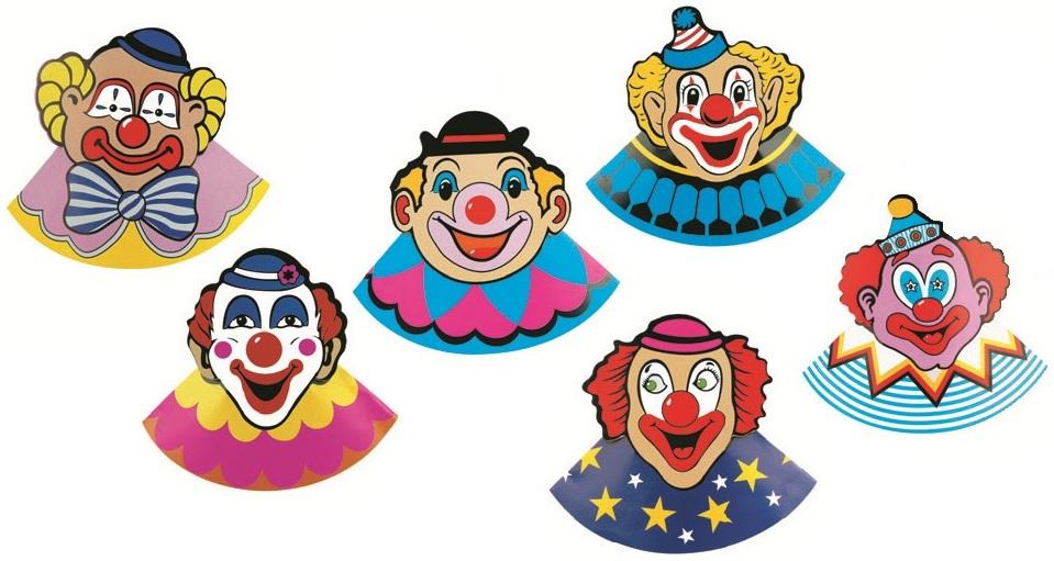 Karnevalový klobouček s klaunem 6 ks v balení