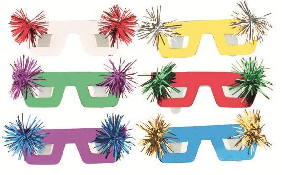 Škraboška 6 ks - brýle se střapečkem