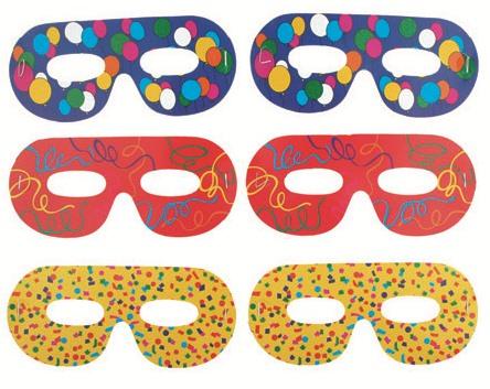 Škraboška brýle - barevný potisk, 6 ks