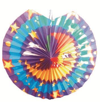 Lampion modrofialový s měsícem, 30cm