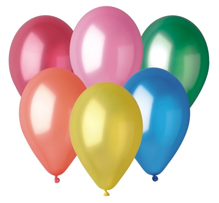 Balónky metalické 26 cm, 100 ks v sáčku, mix barev