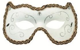 Plesová škraboška bílá s ornamenty 19cm