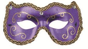 Škraboška plesová fialová s ornamenty 19cm