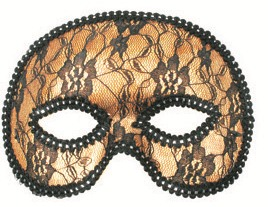 Škraboška plesová zlatá s krajkou 19cm