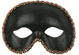 Škraboška plesová černá s lemováním 19cm