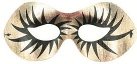 Škraboška plesová zlatá s černými řasami 19cm