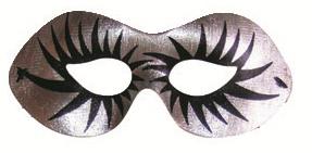 Škraboška plesová stříbrná s černými řasami 19cm