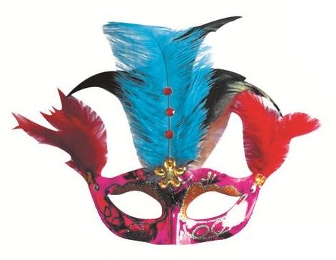 Škraboška plesová fialová s modro-černým peřím 30cm (9118)