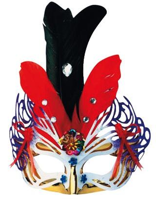 Škraboška plesová zlatofialová  černým a červeným peřím 30cm (9118)