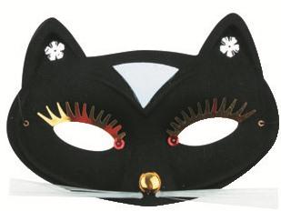 Škraboška plesová kočka černá 17 cm (9131)