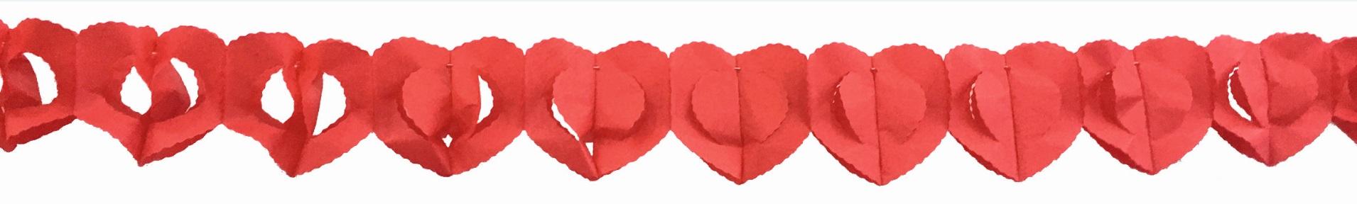 Papírová Girlanda  300x13 cm - srdce červená (9218)