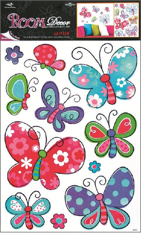 Samolepky na stěnu motýli, 60x42 cm