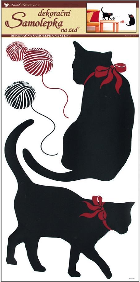Samolepky na stěnu kočky černé, 60x32cm