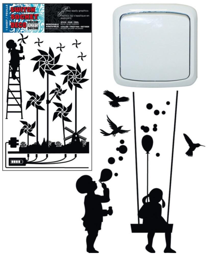 Dekorace k vypínači a jiné hladké plochy větrníky 24x15cm