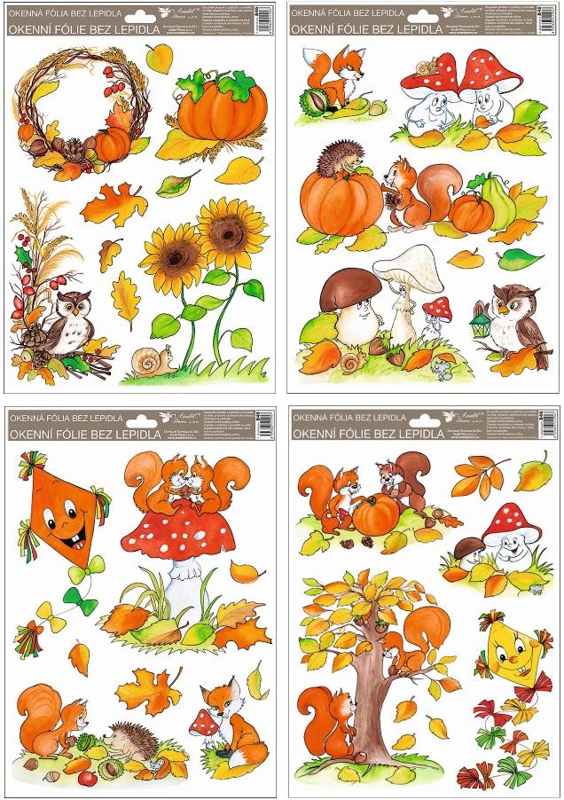 Fólie okenní ručně malovaný podzim sovy,veverky,lišky 33,5x26 cm (946)