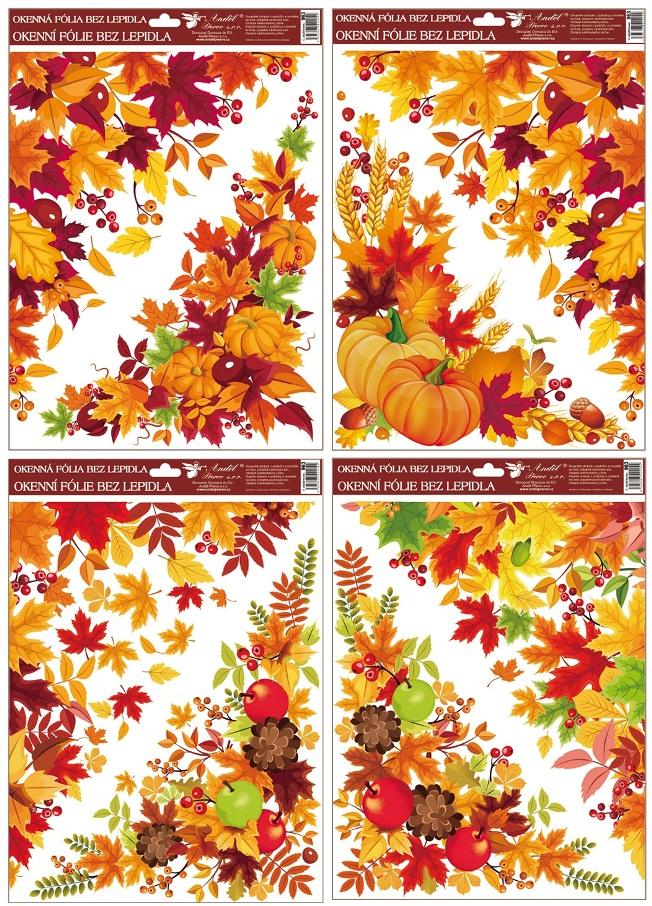 Fólie okenní rohová 38x30 cm, podzimní listí (963)