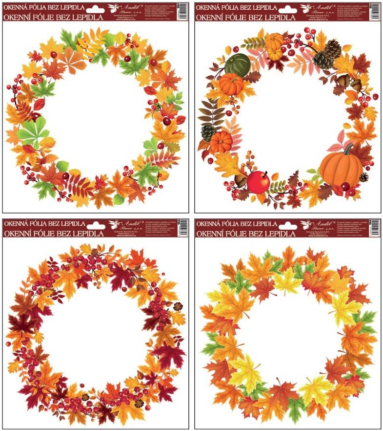 Fólie okenní  30x30 cm, podzimní věnce