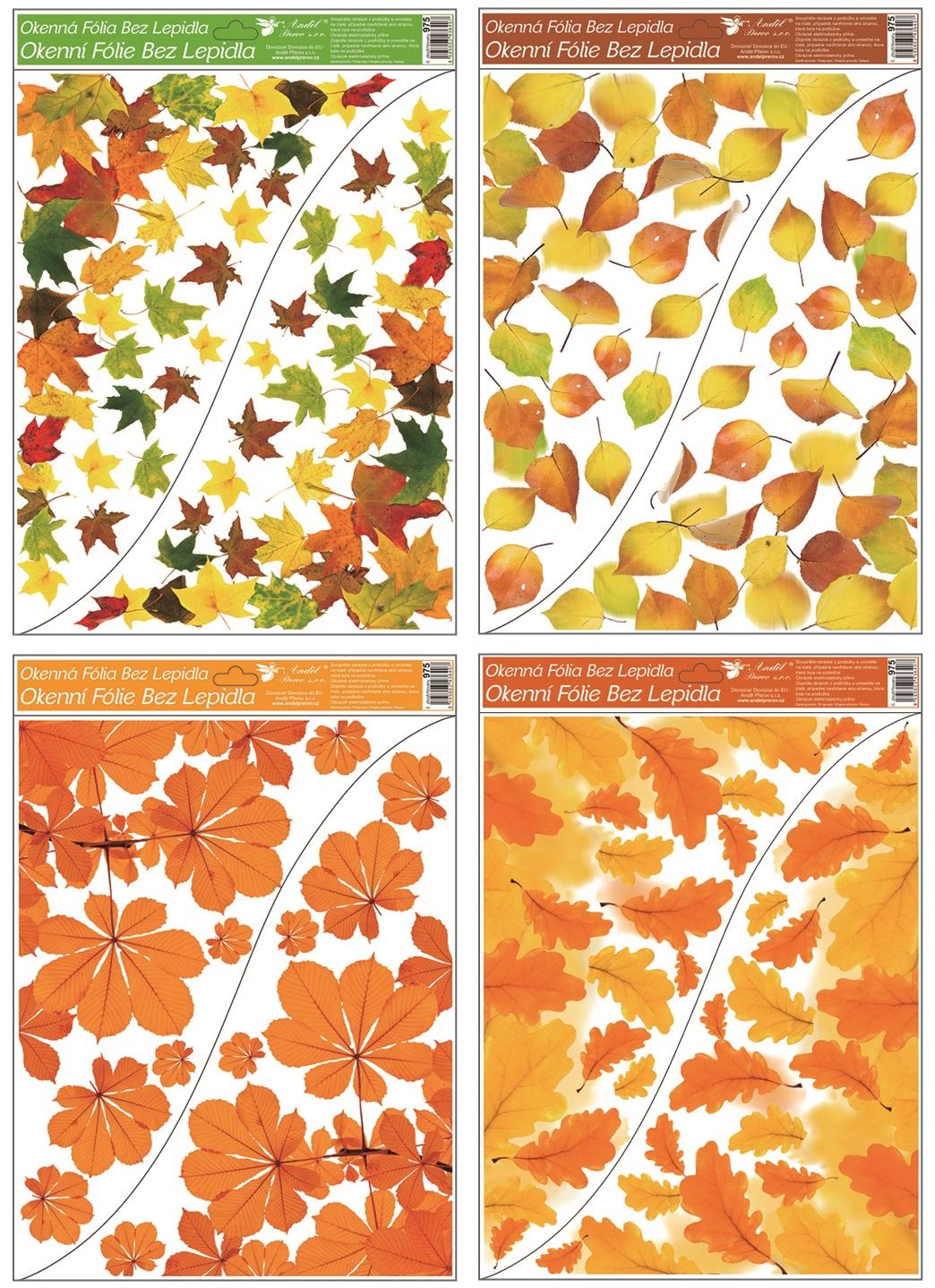 Fólie okenní rohová 42x30 cm, podzimní listí (975)