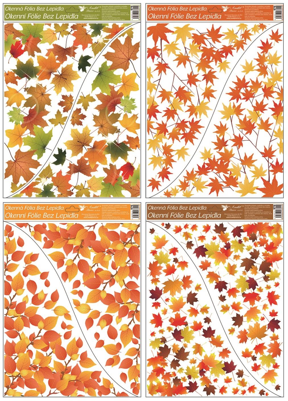 Fólie okenní rohová 42x30 cm, podzimní listí (976)