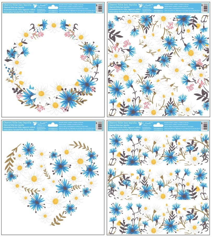 Fólie na okna s glitry kytky 33x30 cm (987)