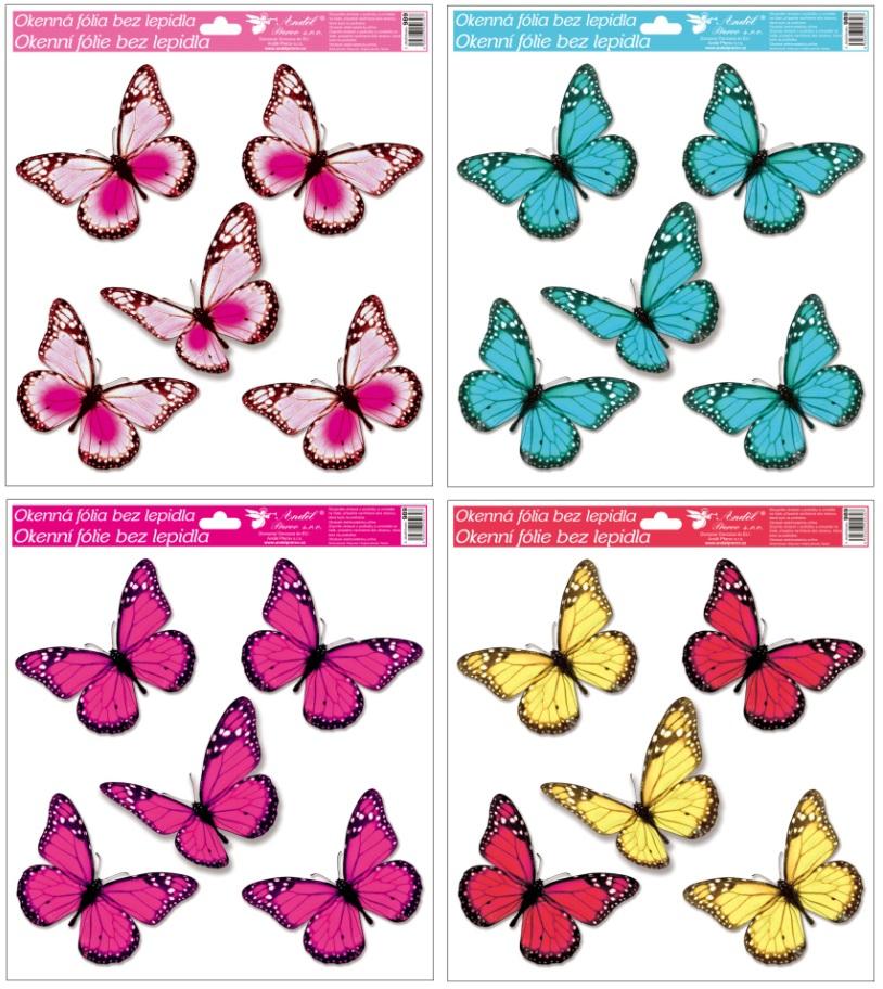 Fólie na okna s glitry motýli 33x30 cm (989)