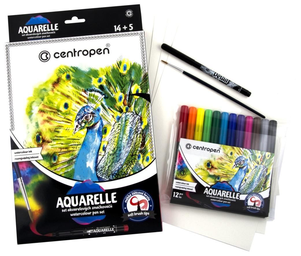 AQUARELLE - sada akvarelových barev 12 ks + příslušenství CENTROPEN (991065)