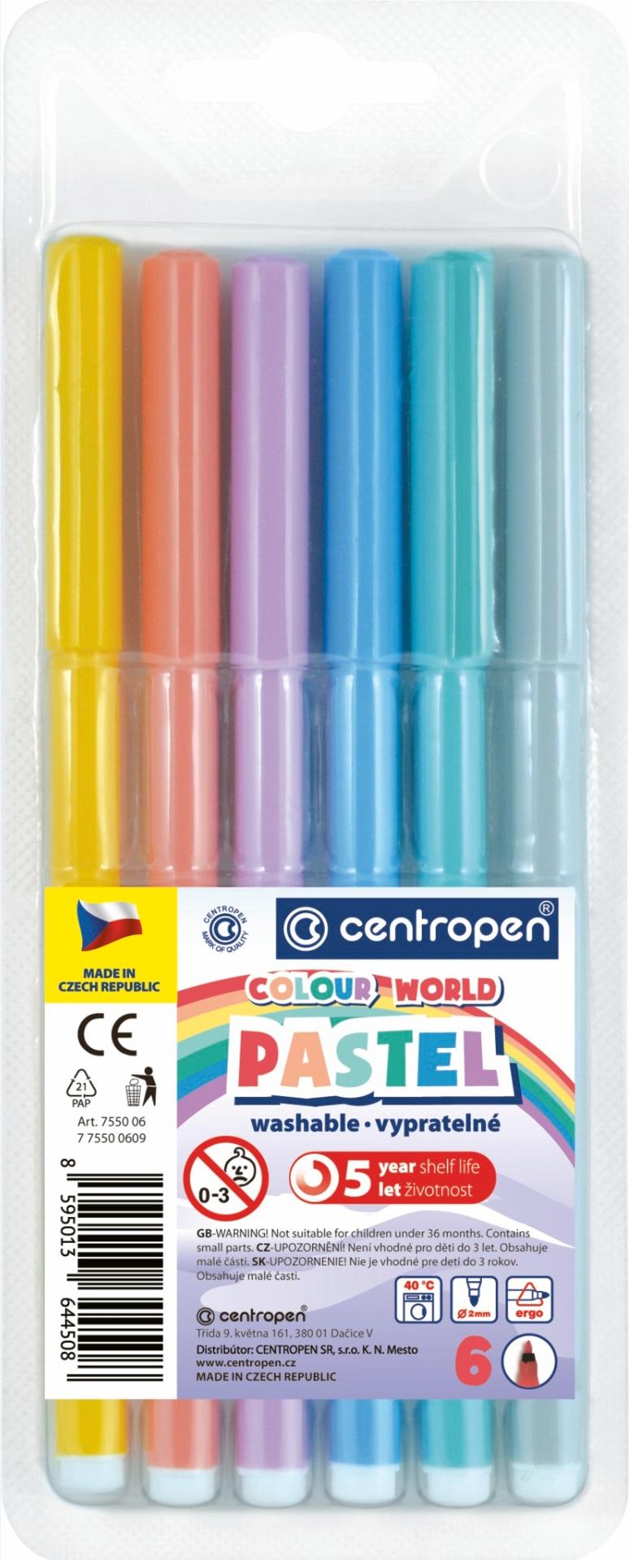 Pastelové popisovače vypratelné 6 barev