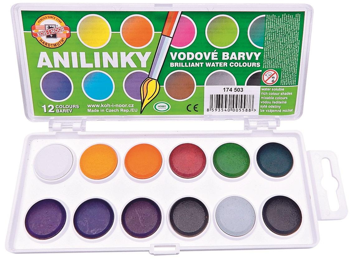 Anilinky -brilantní barvy 12 ks, KOH-I-NOOR (992030)