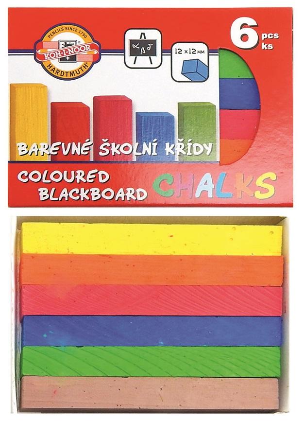 Barevné školní křídy 6 ks KOH-I-NOOR