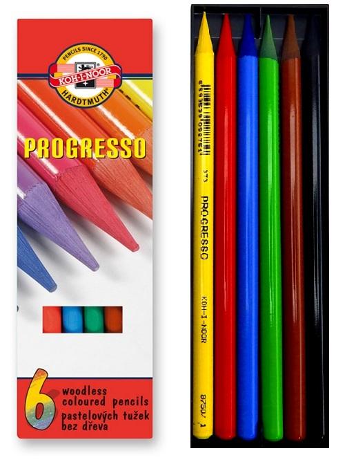 Pastelky PROGRESSO dlouhé, 6 barev