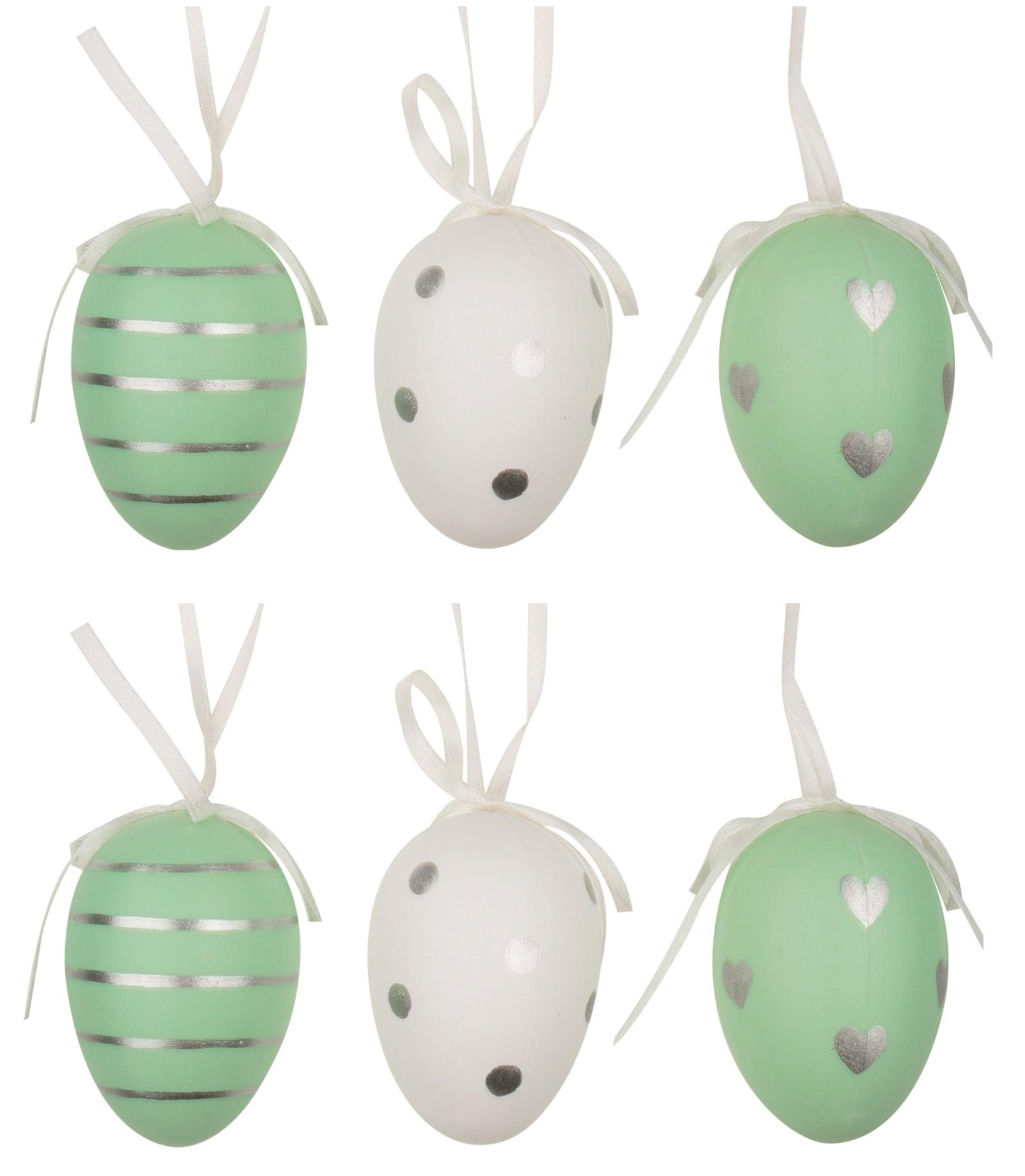 Vajíčka se stříbrnými proužky/puntíky/srdíčky na zavěšení 6 cm, 6 ks v sáčku