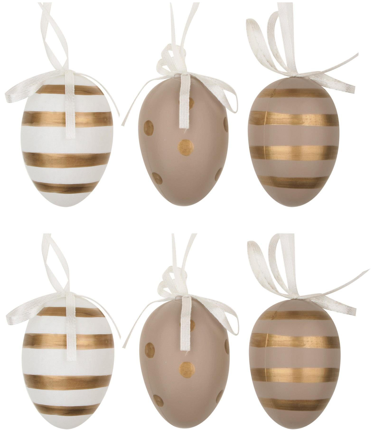 Vajíčka se zlatými proužky a puntíky plastová na zavěšení 6 cm, 6 ks v sáčku