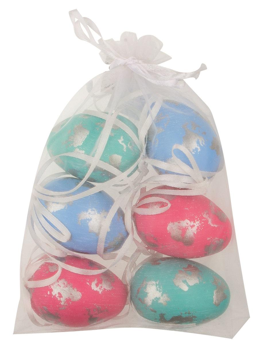 Vajíčka se třpytem plastová na zavěšení 6 cm, 6 ks v organze