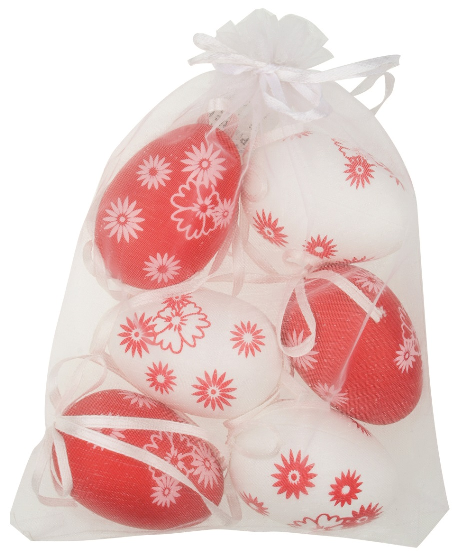 Vajíčka bílá/červená s kytičkami plastová na zavěšení 6 cm, 6 ks v organze