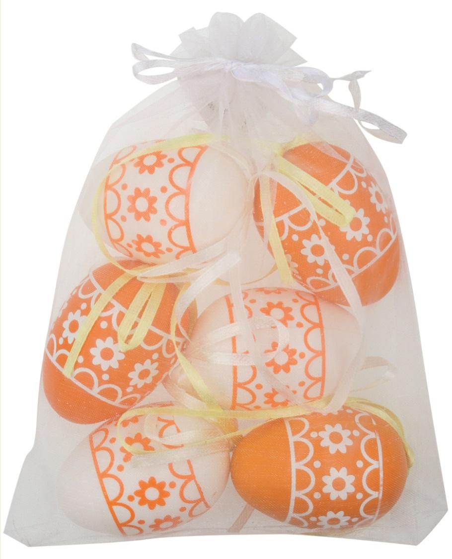 Vajíčka s kytičkami bílá/oranžová plastová na zavěšení 6 cm, 6 ks v organze