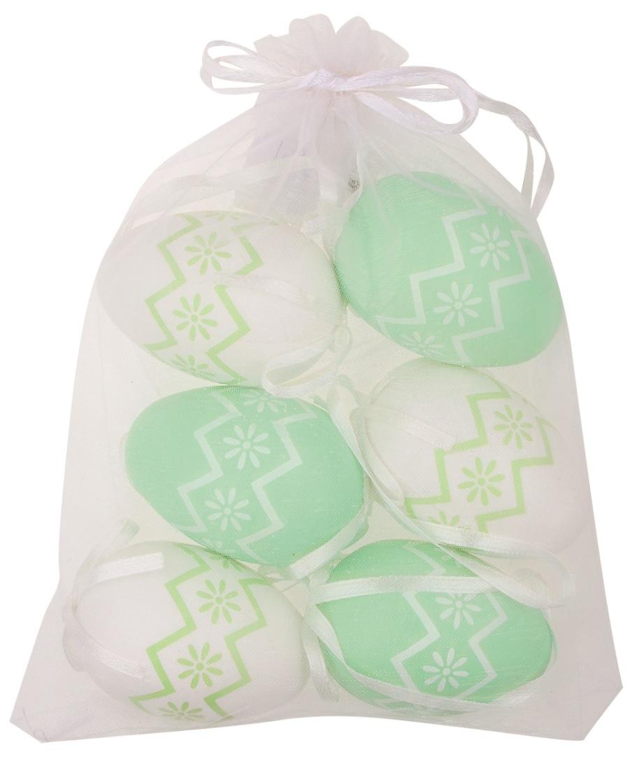 Vajíčka s kytičkami bílá/zelená plastová na zavěšení 6 cm, 6 ks v organze