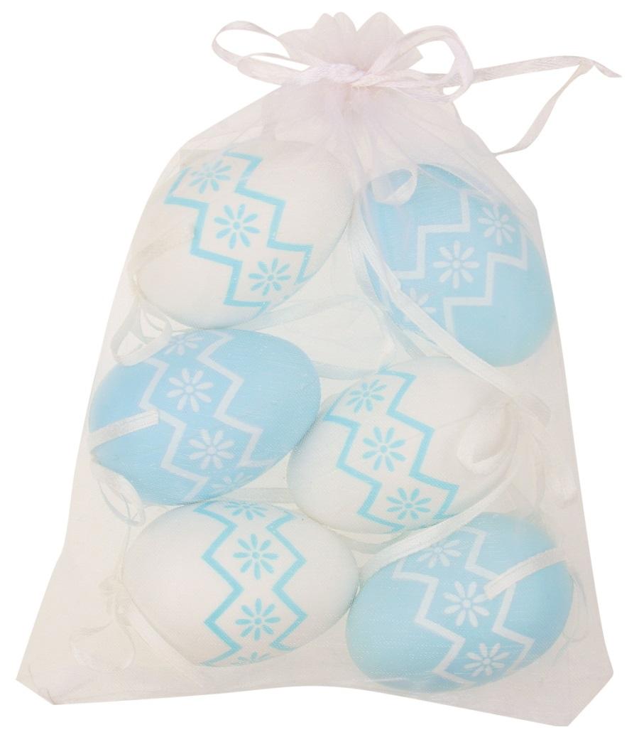 Vajíčka s kytičkami bílá/modrá plastová na zavěšení 6 cm, 6 ks v organze