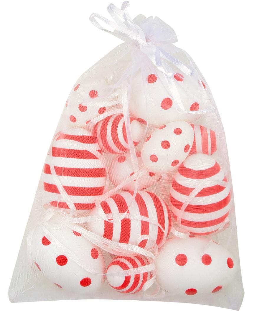 Vajíčka s puntíky a proužky plastová na zavěšení 4 cm, 6 ks + 6 cm, 6 ks v organze