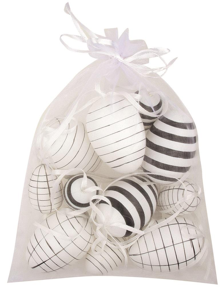 Vajíčka s proužky plastová na zavěšení 4 cm, 6 ks + 6 cm, 6 ks v organze
