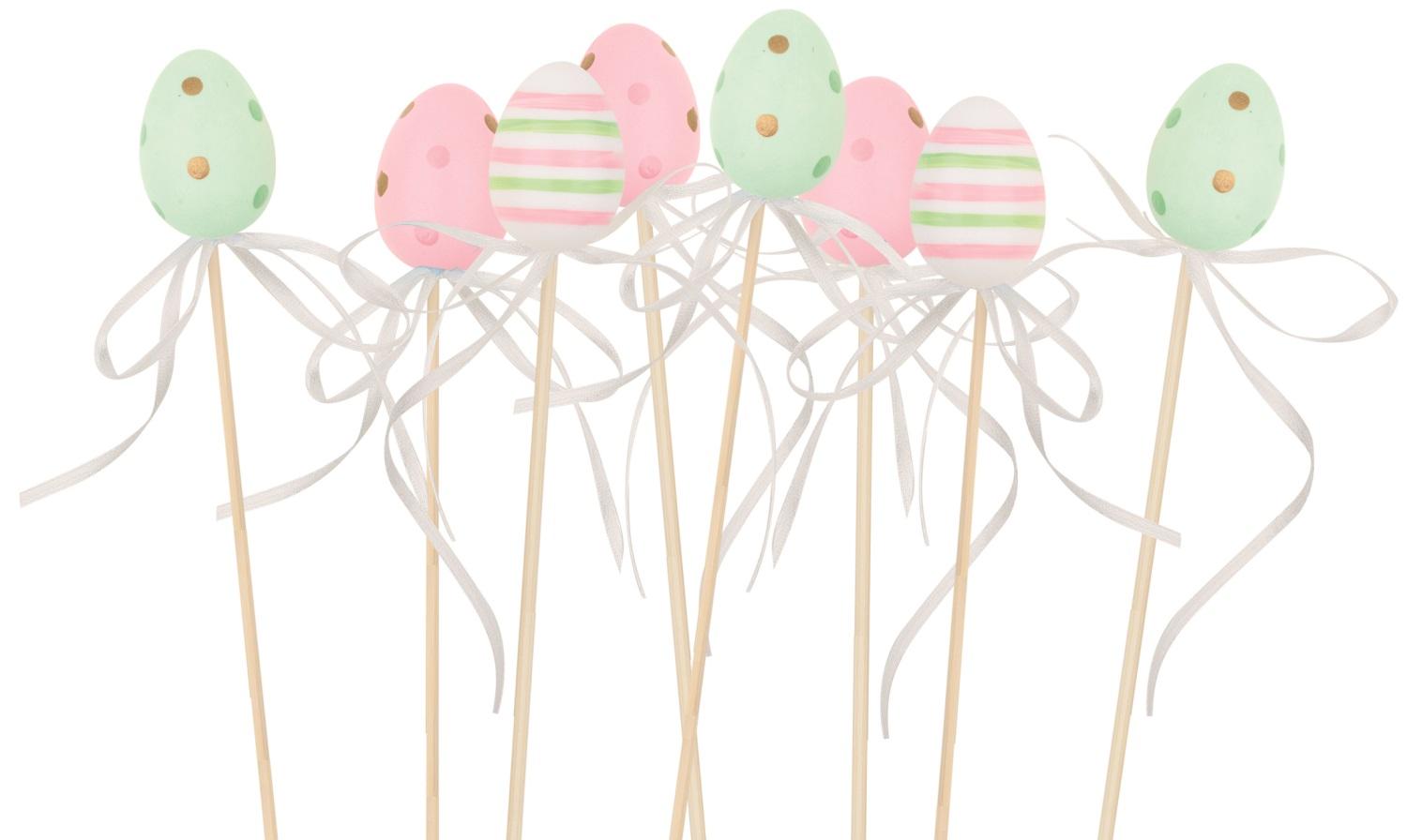 Vajíčko s proužky/puntíky  plastové zápich 4 cm + špejle