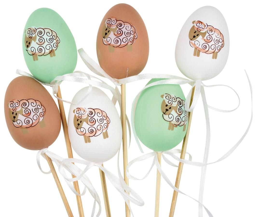 Vajíčko s ovečkou plastové zápich 6 cm + špejle